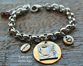 Coffee Bracelet, Coffee Lover's Bracelet, Coffee Jewelry
