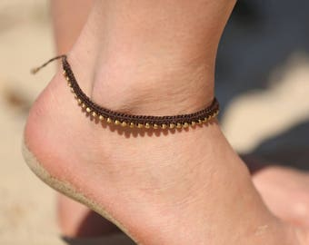 Womens Boho Anklet, Marcrame Beaded Jewelry for feet, Bohemian Hippie Gypsy Fashion Statement,  Unique gift for girlfriend , wife, sister