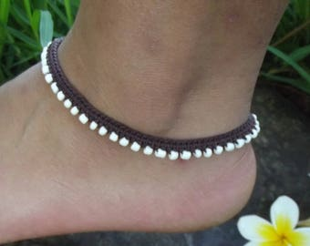 Anklet, Marcrame Beaded Jewelry for feet, Bohemian Hippie Gypsy Fashion Statement,  Unique gift for Boho Lover
