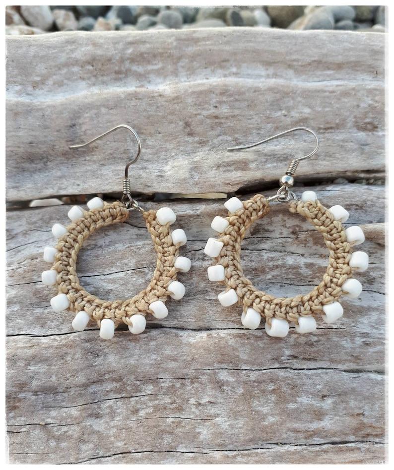 Hoop Earrings with Beads White Beaded Hoop Earrings with  silver allergy free hooks Goa Psy Schmuck Boho Jewelry Macrame Hoop Earring