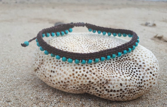 Macrame Anklet Turquoise Anklets For Women Gypsy Clothing Etsy