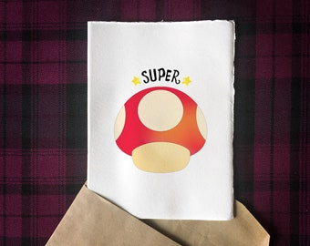 "Printable Mario Inspired ""Super"" 5x7 Greeting Card 