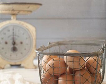 Basket of Eggs and Vintage Scale Photography Print - Kitchen Art- Rustic Styling - Cottage Art for Walls-Food Photography - Egg Photography