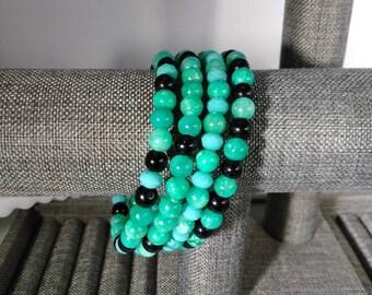 Turquoise Aqua Beaded Wrap Bracelet