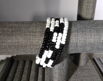 Black and White Beaded Wrap Bracelet