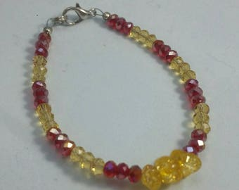 Red and Yellow Beaded Bracelet, Hand Made