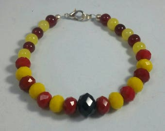 Red and Gold Beaded Bracelet
