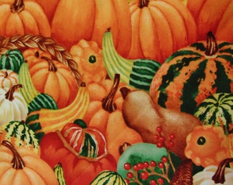 Debi Hron for Timeless Treasures Fall Pumpkins and Gourds Quilting Fabric Sold by the Half Yard