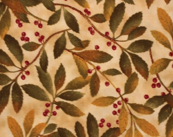 Nature's Garden for Benartex  Quilting Fabric  JS stock  Leaves and Berries Sold by the Half Yard