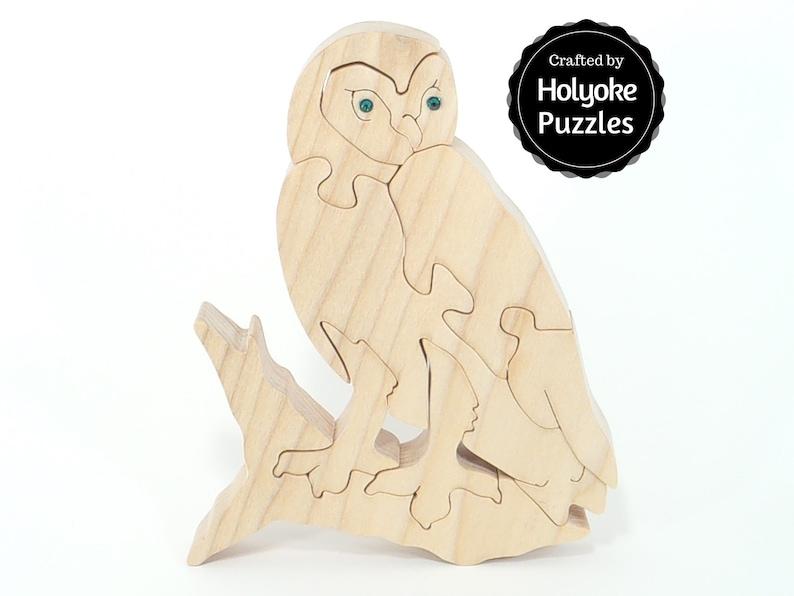 Owl jigsaw puzzle in maple with Swarovski crystal eyes image 0