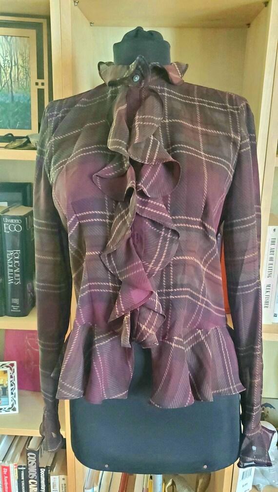 Vintage deadstock Chaps Lauren Shear Ruffled Blous