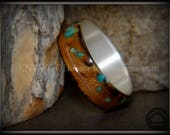 Bentwood Ring - quot Random Smoky quot Olivewood Ring on Silver Core, Offset Copper and Turquoise Inlays
