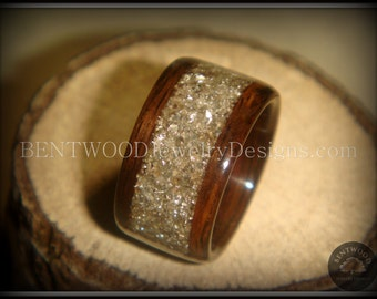 Bentwood Ring Rosewood Wood Ring - Silver Glass Inlay durable and beautiful wooden engagement ring, wood wedding ring or wood ring gift.