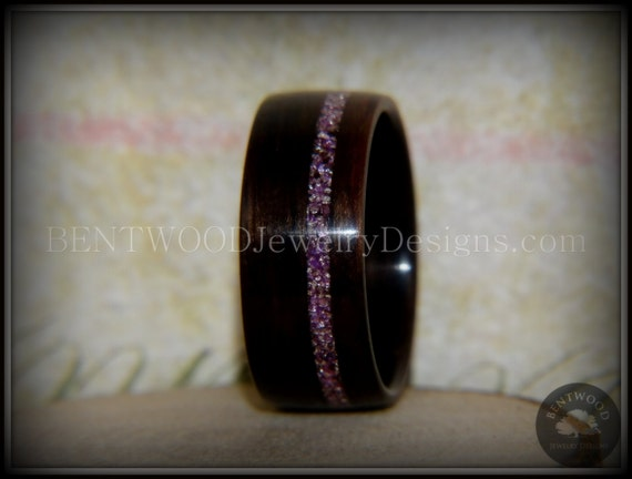 Sterling silver Ebony bent wood ring with Amethyst  inlay