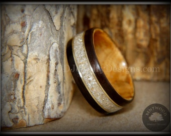 """Bentwood Ring - """"Tracks"""" Dark Ebony and Olive Wood Ring Gold Wire and Pet Cremation Ashes with Glass Mix Inlay"""