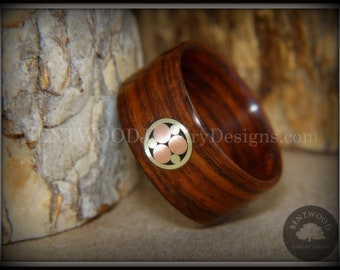 """Bentwood Ring - """"Metal Mosaic"""" Kingwood Ring and Custom Copper Brass Mosaic Inlay"""