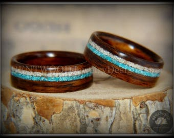 """Bentwood Rings - """"Paired"""" Rosewood Wood Rings with Sleeping Beauty Turquoise and Beach Sand Inlay"""