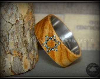 """Bentwood Ring - """"Star of David"""" Olivewood with Patina Copper Iron Sands"""