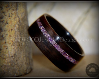 Bentwood Ring - Macassar Ebony with Silver Amethyst Glass Inlay