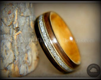 """Bentwood Ring - """"Tracks"""" Ebony and Olive Wood Ring Gold Wire and Glass Inlay"""