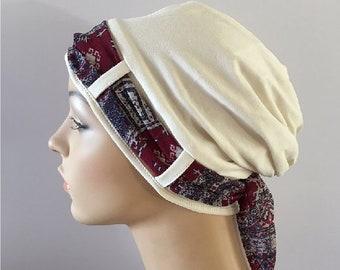 Chapeau souple. Ivoire Landa Turban chapeau avec un lâche Bordeaux et bleu  marine foulard, chapeau pour la perte de cheveux. Turbans. Chapeaux de  cancer. 01cbe2c02b6
