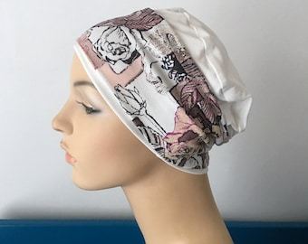 2a245f56c78 Ivory sleep cap with Pink Floral Headband. Hat for womens hair loss. Cancer  Hat. Chemo cap. Chemo Head wear.