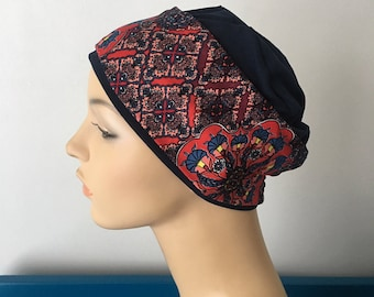 63d1eab4941 Chemo headwear. Navy Sleep Cap with Patchwork Headband. Hat for womens hair  loss. Cancer Hat. Chemo cap. Chemo Head wear.