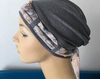 Chemo headwear. Dark Landa Turban hat with Vintage Floral scarf. Hat for womens hair loss. Cancer Hat. Chemo cap. Chemo Head wear.