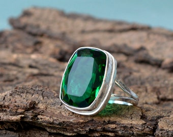 Finland Chrome Diopside silver copper ring  Handmade  Hand polished natural stone  Sterlingsilver ring  Statement ring