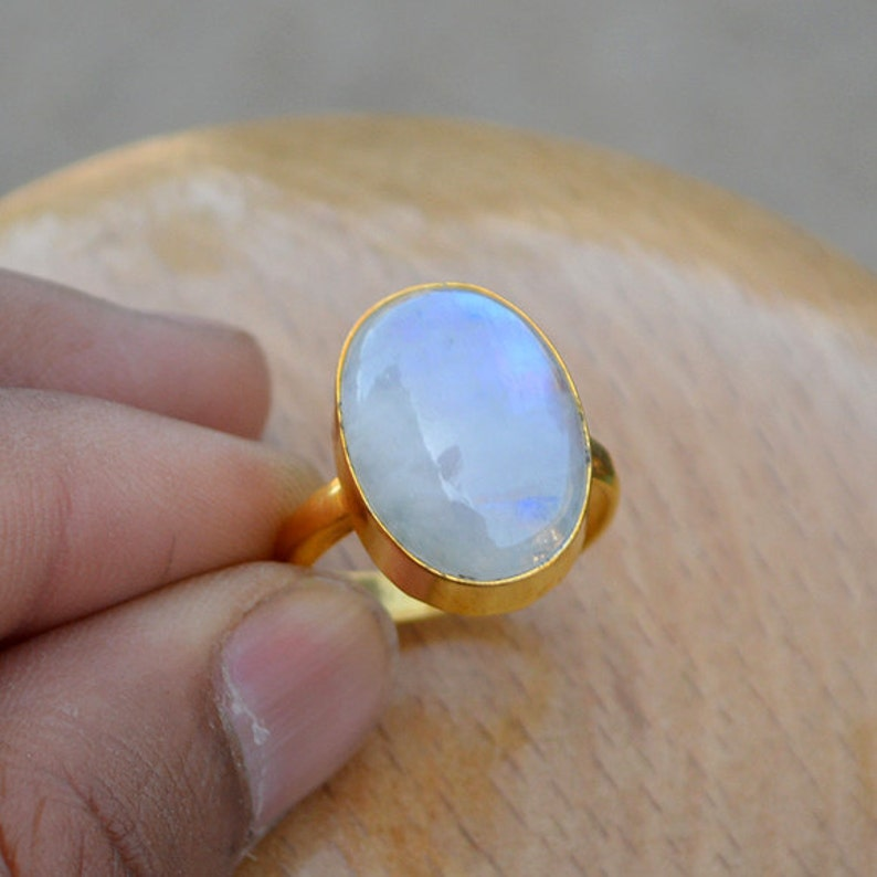 Moonstone Classic Ring June Birthstone Gift Ring Rainbow Moonstone Gemstone Ring-Sterling Silver Yellow Gold Ring Yellow Gold Ring