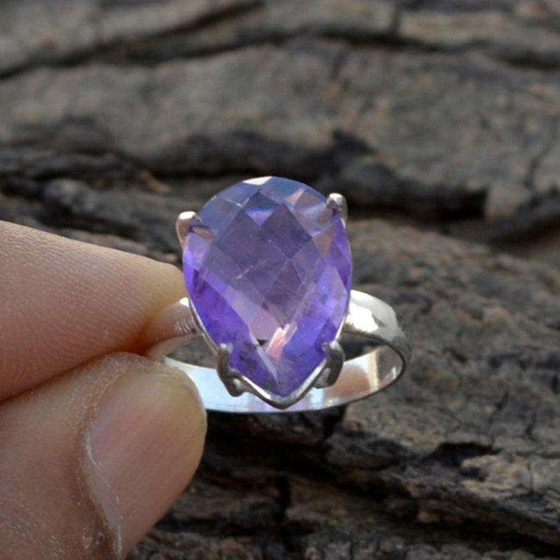 February Birthstone Ring Natural Purple Checker Cut Amethyst Gemstone Ring 925 Sterling Silver Ring Purple Amethyst Gift Ring Jewelry