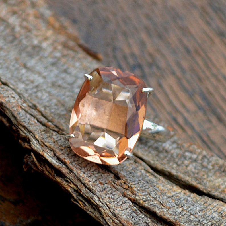 PEACH Morganite Ring 925 Sterling Silver Ring Morganite image 0