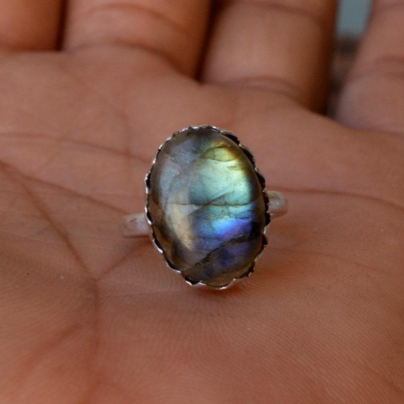 OOak Blue Fire Labradorite Ring Oval Shape Cab Labradorite Gemstone Ring 925 Sterling Silver Ring Natural Labradorite Designer Gift Ring