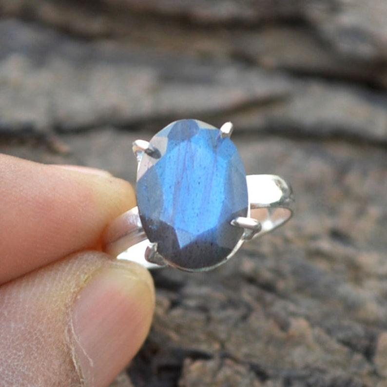 Fire Labradorite Gift Ring 925 Sterling Silver Ring Natural Gemstone Ring Prong Set Labradorite Ring Faceted Labradorite Gemstone Ring