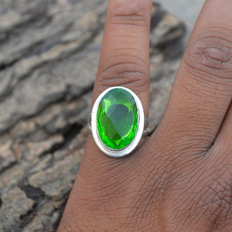 Oval Cut Stone Ring Birthstone Ring,Green Ring 925 Sterling Silver Ring,Dark Green Quartz Ring,Beautiful Gift Ring Peridot Quartz Ring