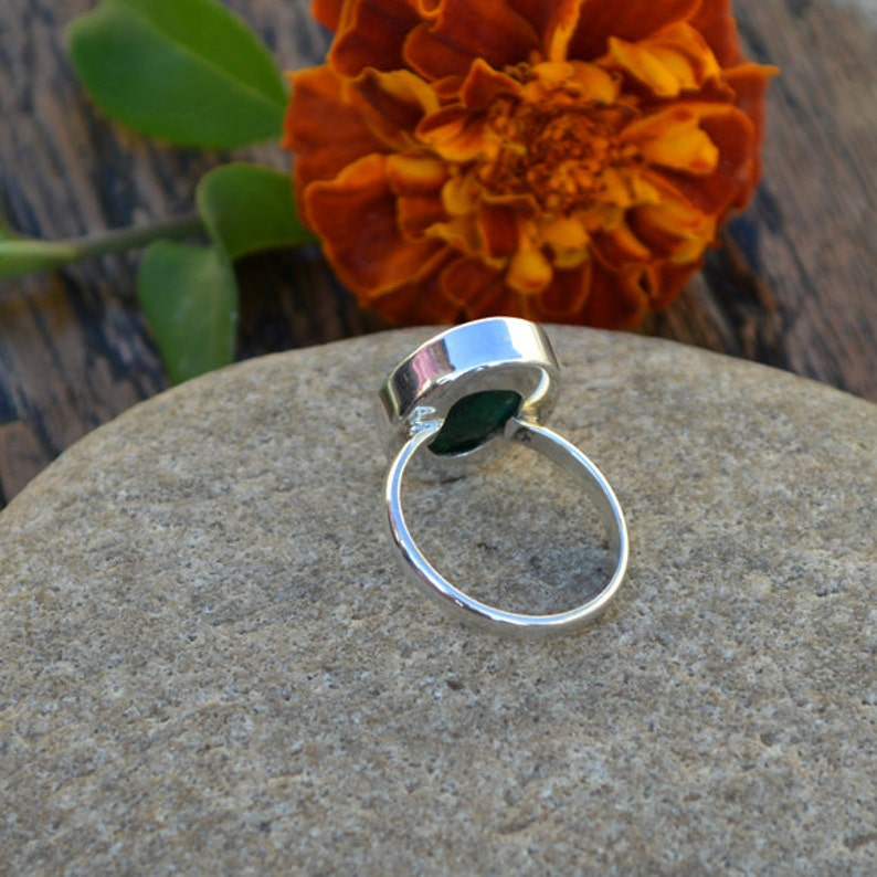 Artisan Handmade Ring 925 Sterling Silver Ring Jewelry Natural Emerald Gemstone Ring Bezel Set Faceted Ring May Birthstone Gift Ring