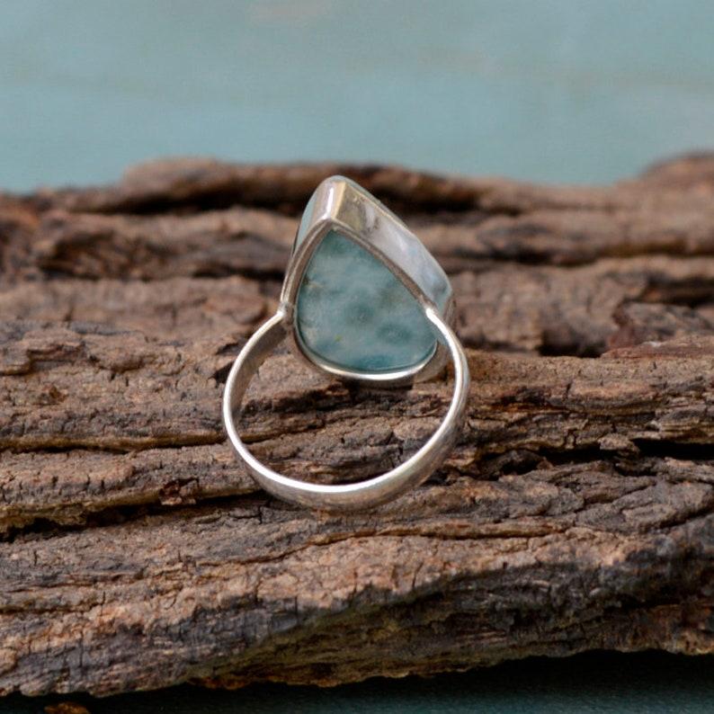 Larimar Gift Ring 925 Sterling Silver Ring Bezel Set Simple Gift Ring Jewelry Pear Larimar Ring Natural Dominican Larimar Gemstone Ring