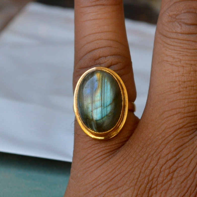 Labradorite Ring Fire Labradorite Ring Bezel Labradorite Ring Blue Red Fire Labradorite Gemstone Ring Sterling Silver Yellow Gold Ring