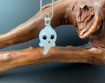 Little Ghost Pendant Flameworked Glass