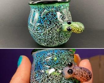 Camouflage Color Changing Octopus Shot Glass, Jar, Qtip holder, toothpick holder, ring jar, Blown glass