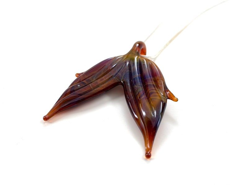multicolor fish fin purple Mermaid Tail Glass Pendant Necklace Whale tail earthy Mermaid Fin brown