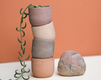 Set of 4 Small Earth Plant Pots