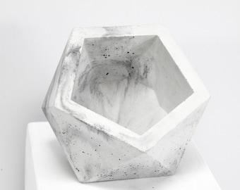 Concrete Geometric Original Medium Icosahedron marble vessel