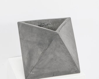 Concrete Geometric Original Medium Octahedron vessel Grey