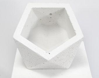 Concrete Geometric Original Medium Icosahedron vessel