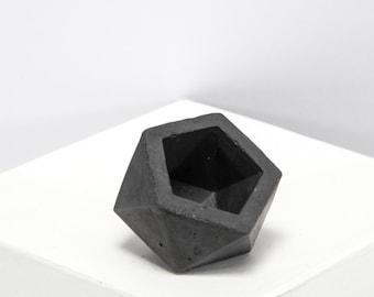 Mini Concrete Geometric dark icosahedron