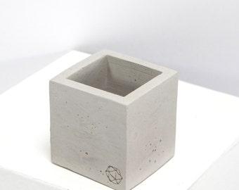 Mini Concrete Geometric Cube Plain