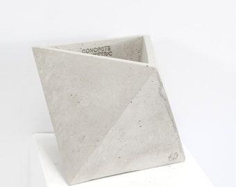 Concrete Geometric Original Medium Octahedron vessel