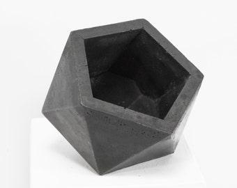 Concrete Geometric Original Medium Icosahedron dark vessel