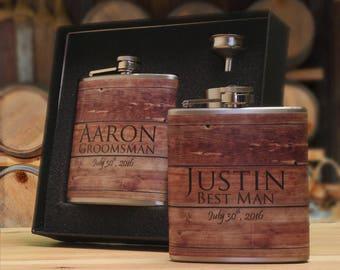 Groomsman Gift Sets, Groomsmen Gift Flasks, Flasks for Men, Personalized Gifts